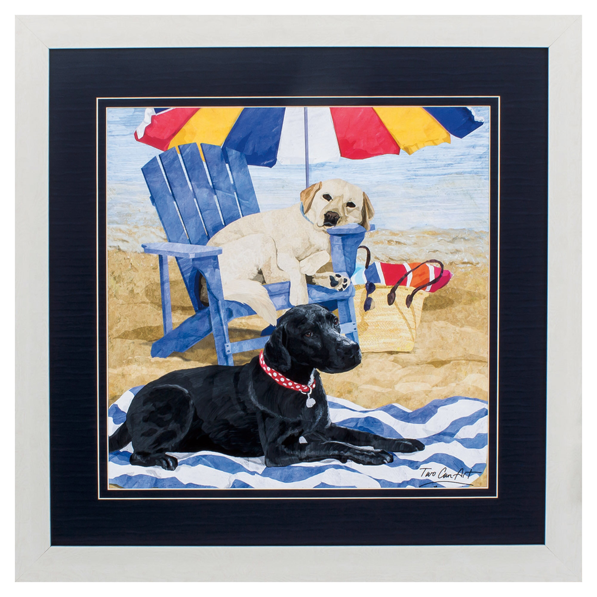 Trinx White Frame Labs On Beach Picture Frame Painting Print Wayfair