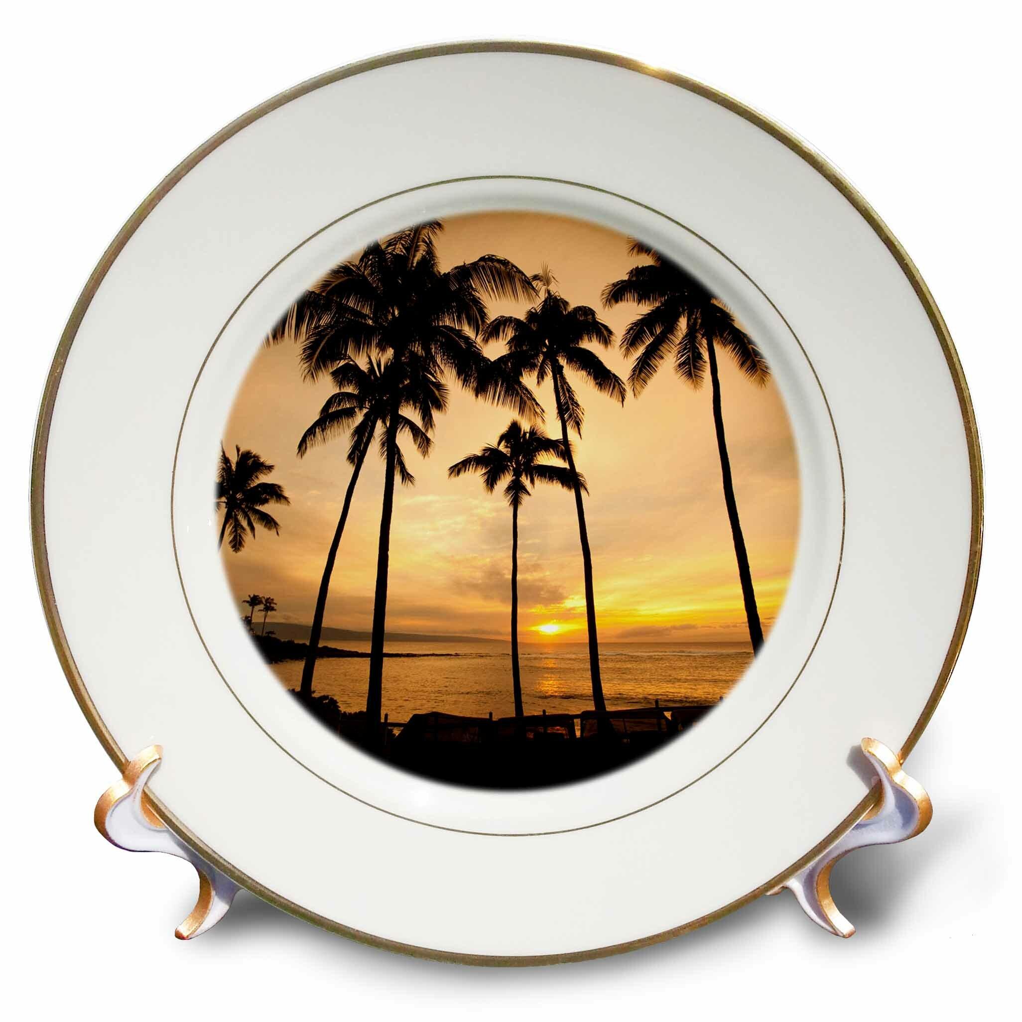East Urban Home Hawaii Kapalua Beach Sunset And Palm Trees Douglas Peebles Porcelain Decorative Plate Wayfair
