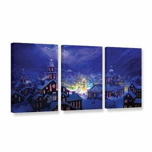 Christmas Town by Philip Straub 3 Piece Graphic Art on Wrapped Canvas Set