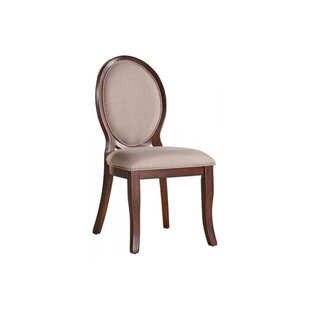 Karina Wood and Fabric Oval Upholstered D..