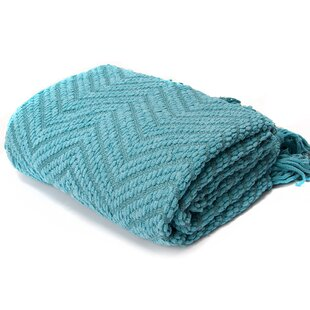 Diana Knit Zig-Zag Textured Turquoise Throw