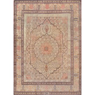 One-of-a-Kind Antique Tabriz Handwoven Wool Ivory Indoor Area Rug by Mansour