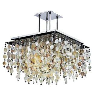 Glow Lighting Cityscape Oyster Shell and Crystal 9-Light Semi Flush Mount