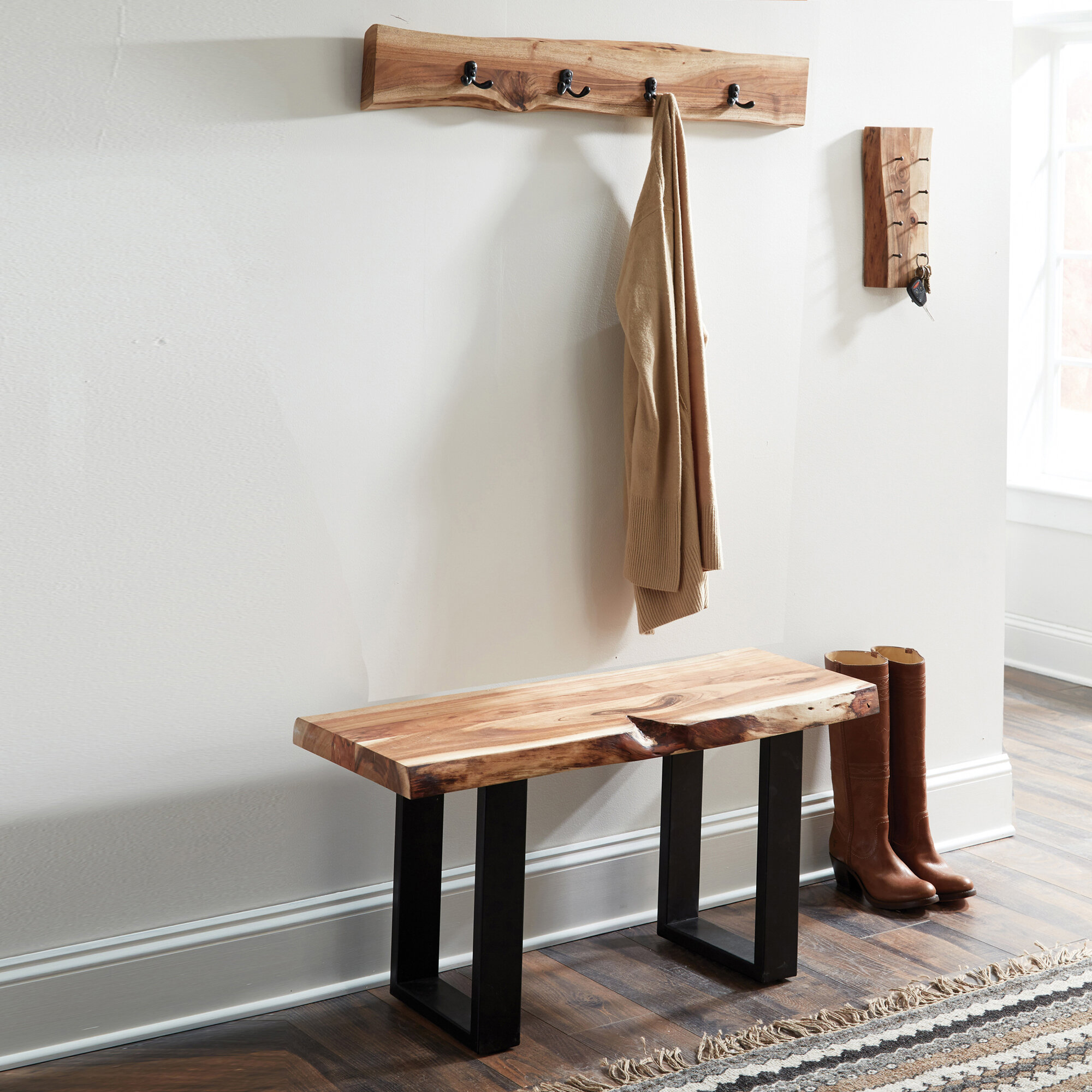 Foundry Select Bexton Live Edge Coat Hook and Bench Set Hall Tree
