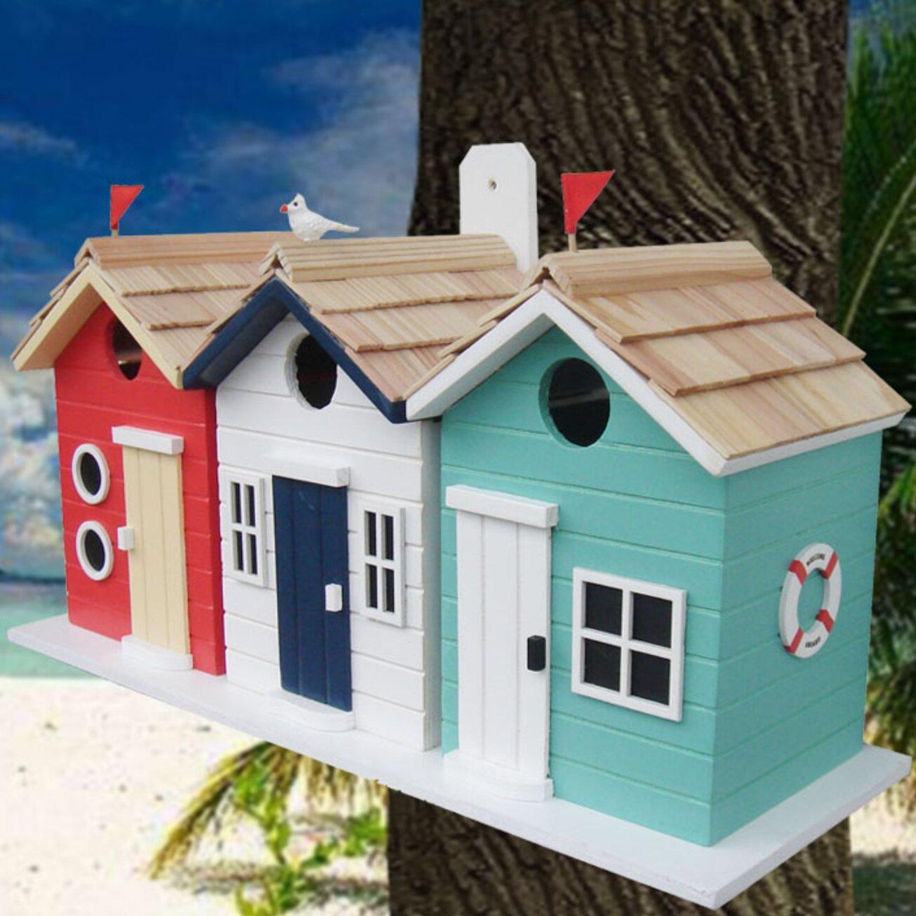 Home Bazaar Birds Of A Feather Series Brighton Beach Huts 8 5 In X 17 In X 6 In Birdhouse Reviews Wayfair