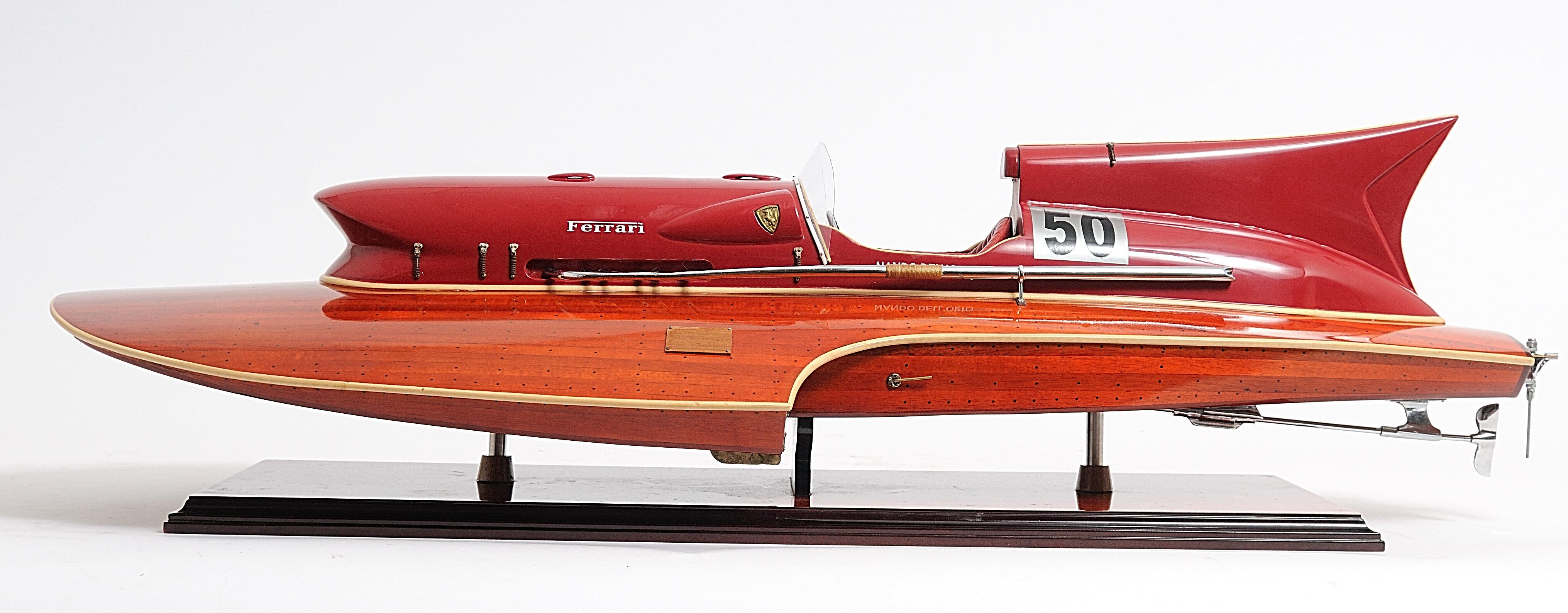 Ferrari Hydroplane High Quality Hand Craft Wooden Model Ship Speed Boat 32 Colorcard De