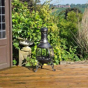 Haman Steel Charcoal/Wood Burning Chiminea By Sol 72 Outdoor