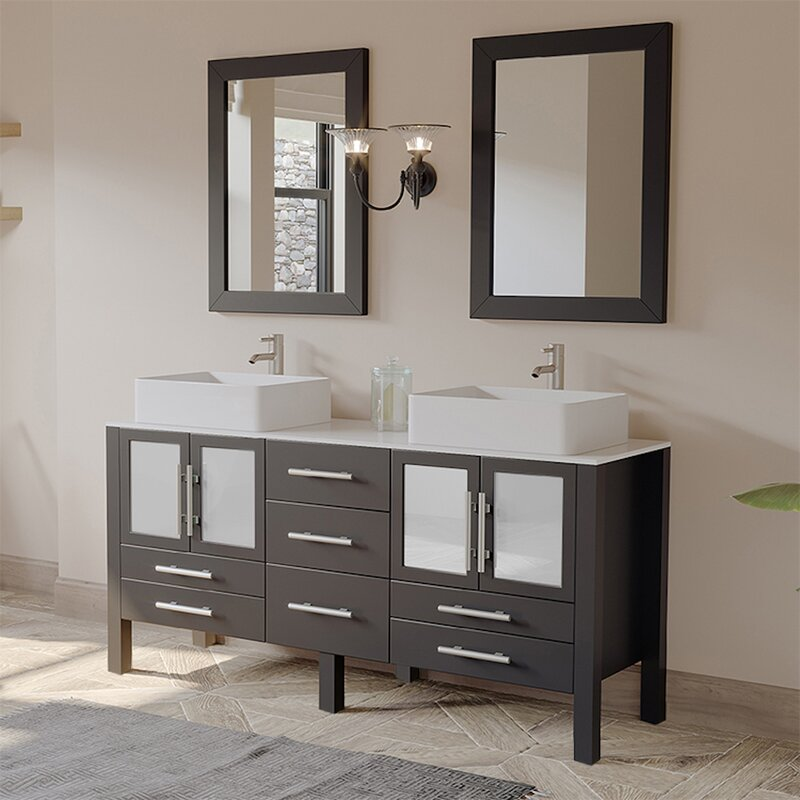 Espresso Solid Wood Double Bathroom