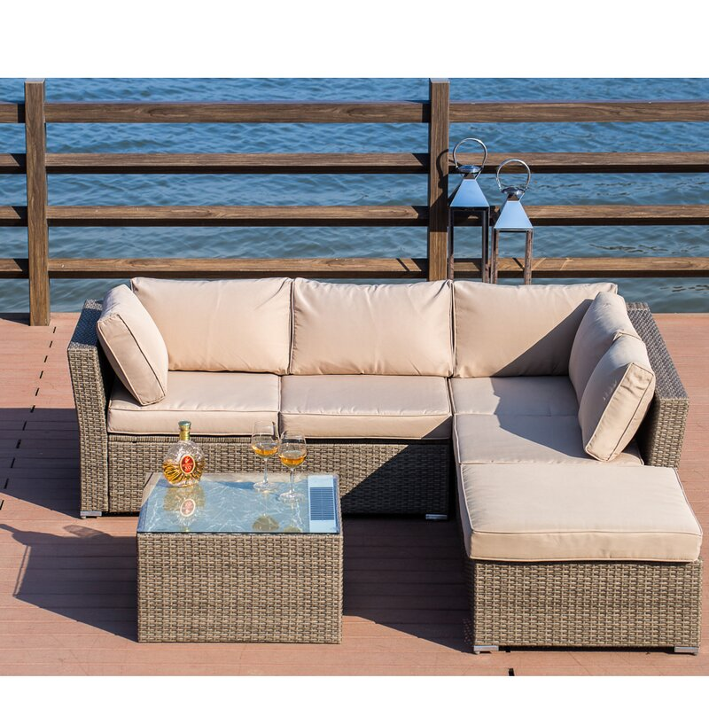 Mercury Row Amesbury 4 Piece Rattan Sectional Seating Group With Cushions Reviews Wayfair