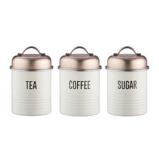 Vintage Copper 3 Piece Coffee Tea Sugar Jar Sets