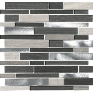 Urban Loft Interlocking Pattern Random Sized Glass/Stone/Metal Tile in Gray