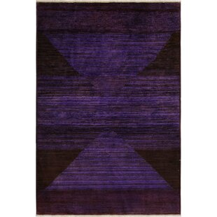 Affordable One-of-a-Kind Aberdeen Hand-Knotted Wool Purple/Black Area Rug By Isabelline