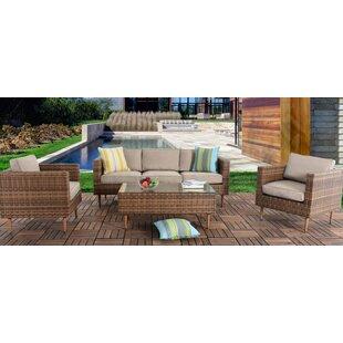 Aadhya Patio 4 Piece Rattan Sofa Seating Group with Cushions By Ivy Bronx