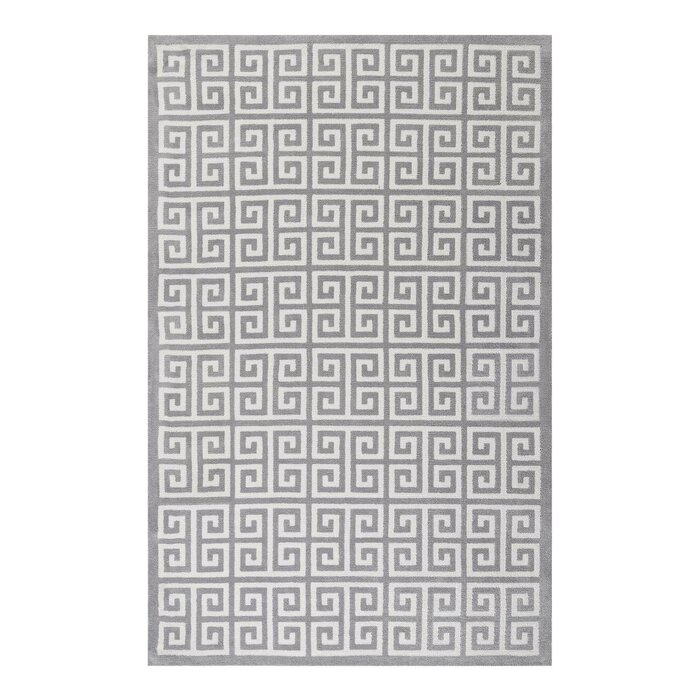 Selman Greek Key Whitelight Gray Area Rug
