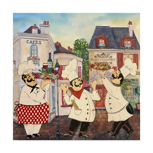 Italian Chefs Graphic Art Print On Wred Canvas