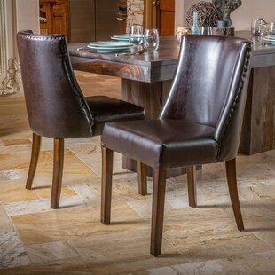 August Grove Cottonwood Genuine Leather Upholstered Dining Chair
