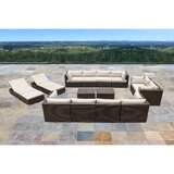 Daleville 14 Piece Rattan Sectional Seating Group with Cushions by Latitude Run®