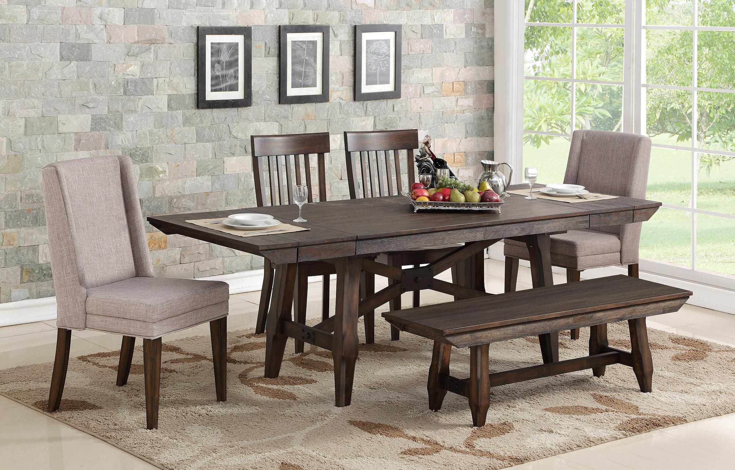 Gracie Oaks 6 Piece Extendable Solid Wood Dining Set Reviews Wayfair