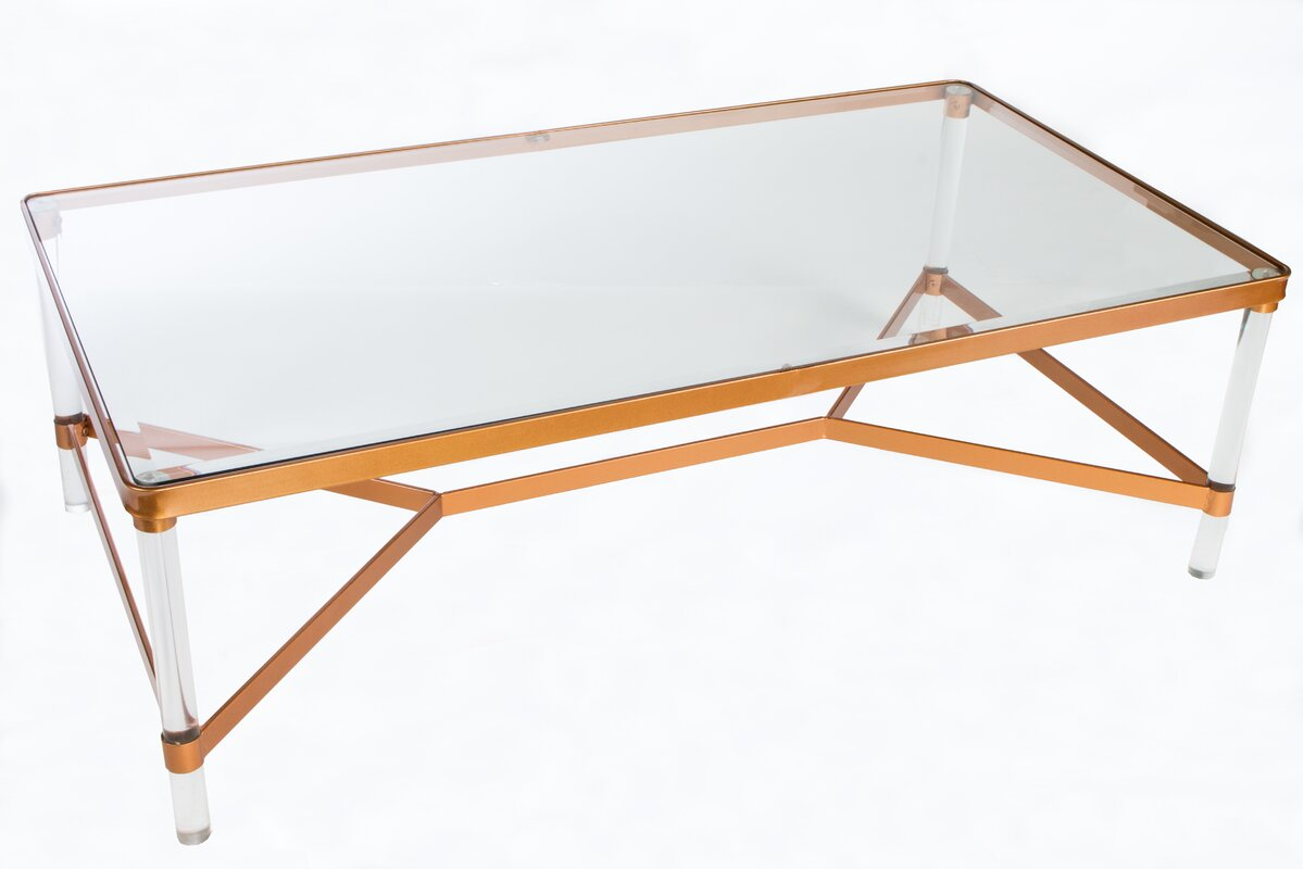 Acrylic ghost coffee table wayfair mireille acrylic coffee table geotapseo Image collections