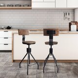 Arago Metal Adjustable Height Bar Stool (Set of 2) by Williston Forge