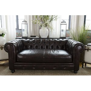 Fiske Leather Chesterfield Sofa by Darby Home Co