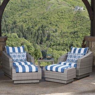 Castelli 5 Piece Rattan Sunbrella Conversation Set with Cushions by Wade Logan
