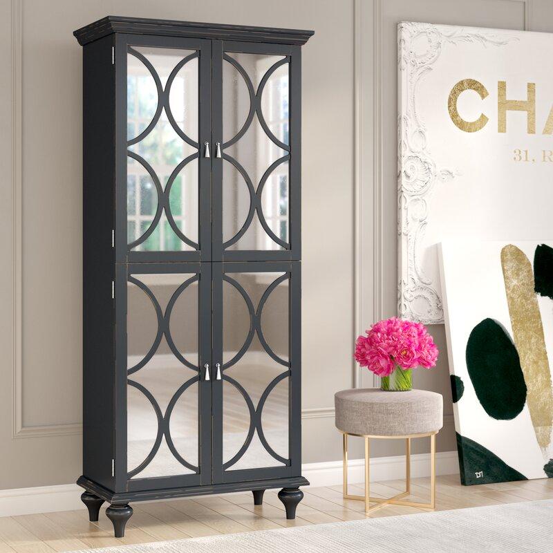 Captivating Ingram Tall Mirrored Wine Bar Cabinet
