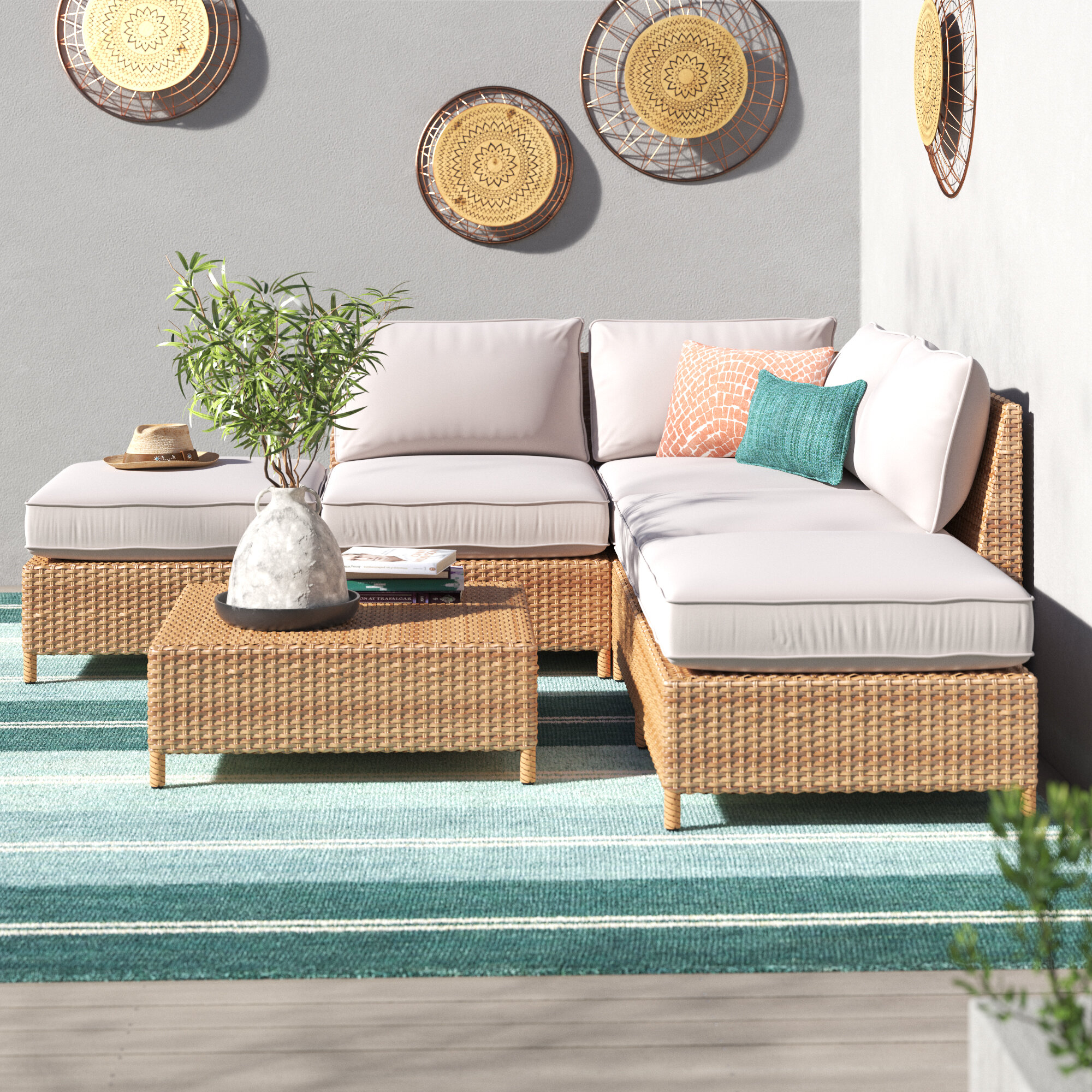 Euclid 6 Piece Sectional Seating Group With Cushions Reviews Joss Main