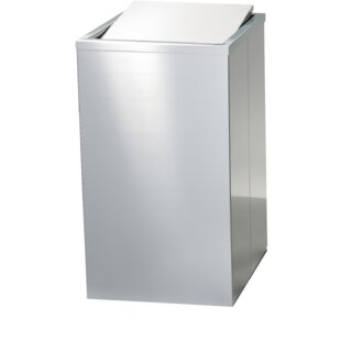AGM Home Store Stainless Square Laundry Hamper with Swing Cover Lid