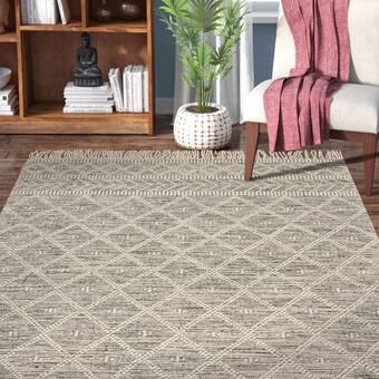 Allmodern Aten Hand Knotted Cotton Wool Gray Area Rug Reviews Wayfair