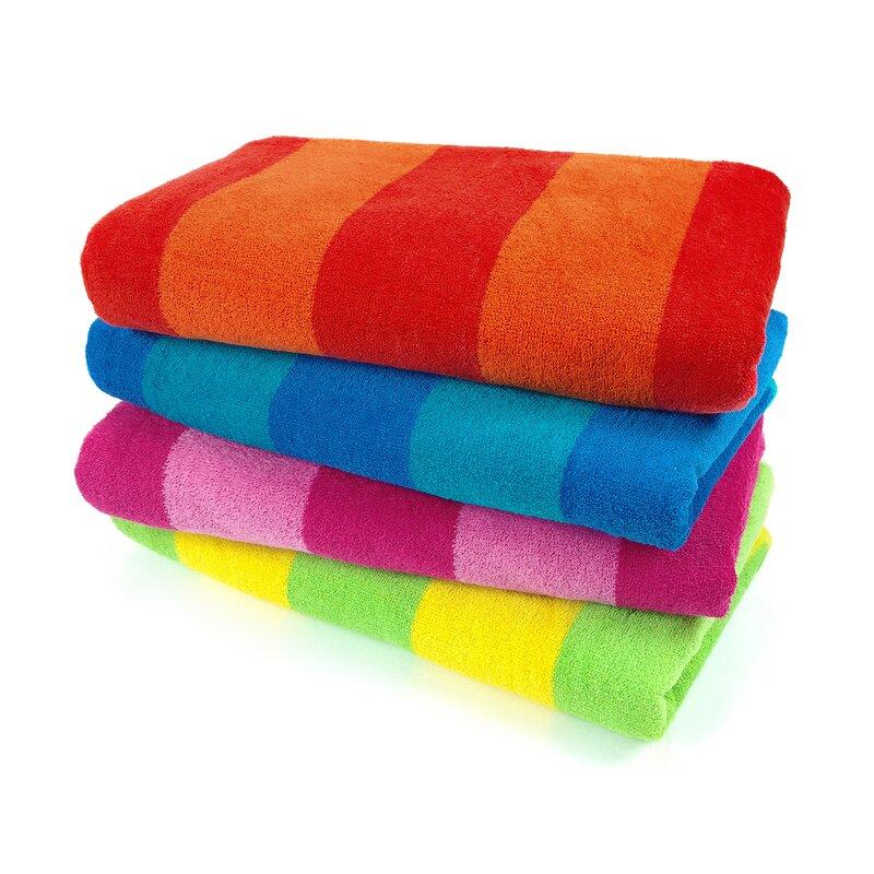 Faulk 4 Piece 100 Cotton Beach Towel