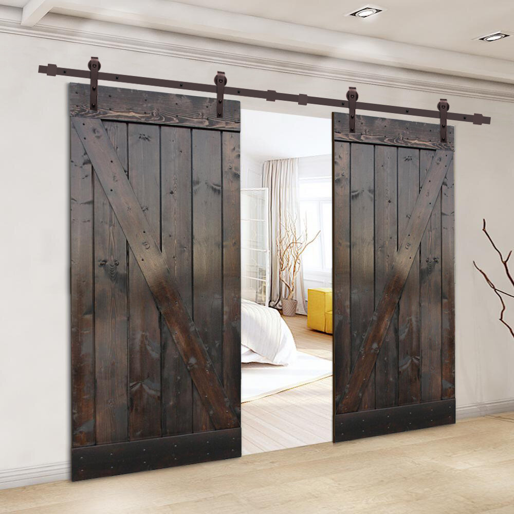 Calhome Paneled Wood Z Bar Barn Door With Installation Hardware Kit Reviews Wayfair