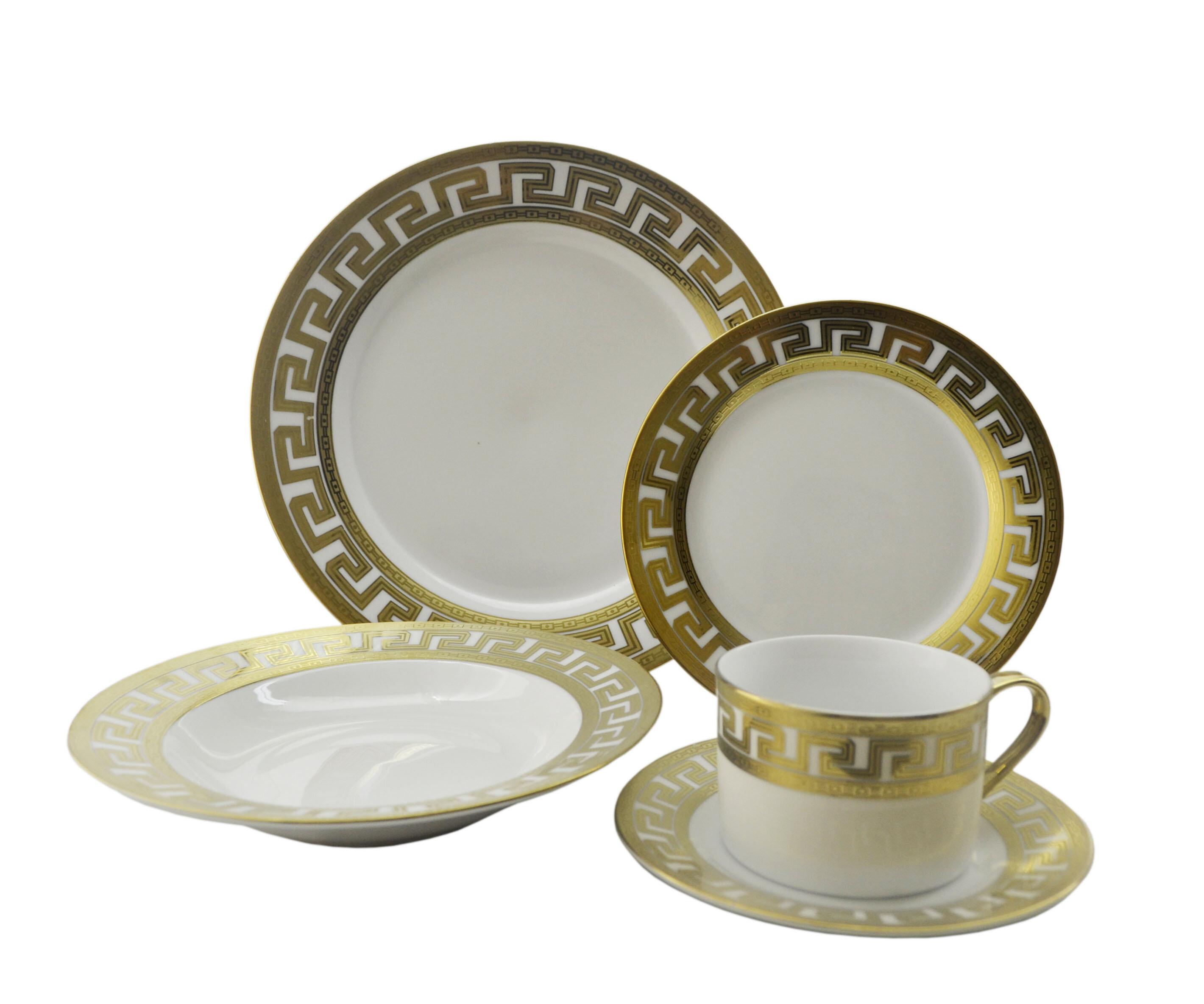 Three Star Inspired Versace 40 Piece Dinnerware Set Service for 8 u0026 Reviews | Wayfair  sc 1 st  Wayfair & Three Star Inspired Versace 40 Piece Dinnerware Set Service for 8 ...