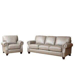Darby Home Co Cairnbrook 2 Piece Leather Living Room Set