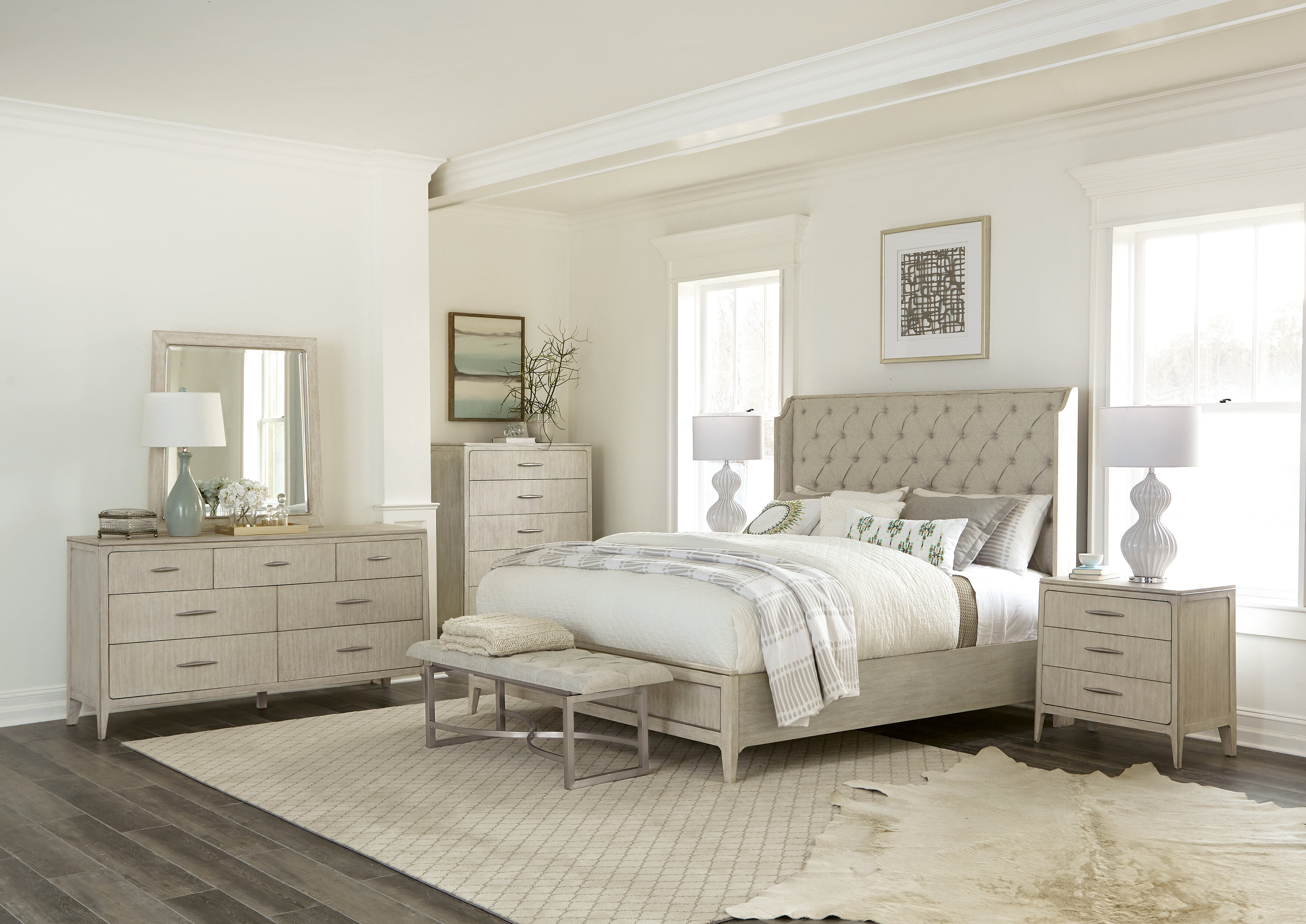 Raf Sleigh Solid Wood Configurable Bedroom Set