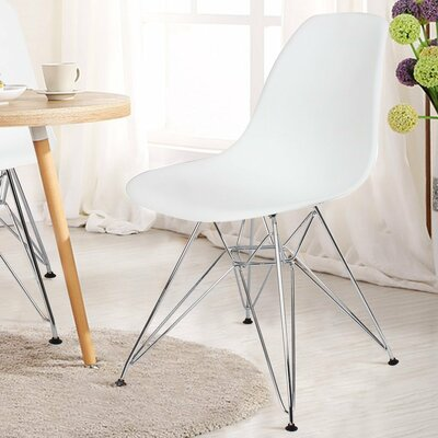Patio Dining Chair AdecoTrading Finish: White
