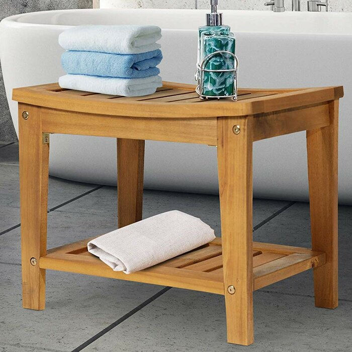 Excellent Delania Solid Natural Acacia Wood Sturdy Bathroom Shower Bench Pdpeps Interior Chair Design Pdpepsorg