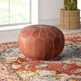 Carolos Leather Pouf by Mistana