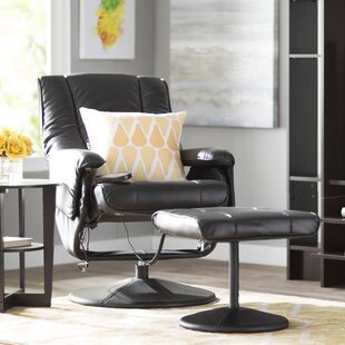 Zipcode Design Leather Heated Reclining Massage Chair with Ottoman