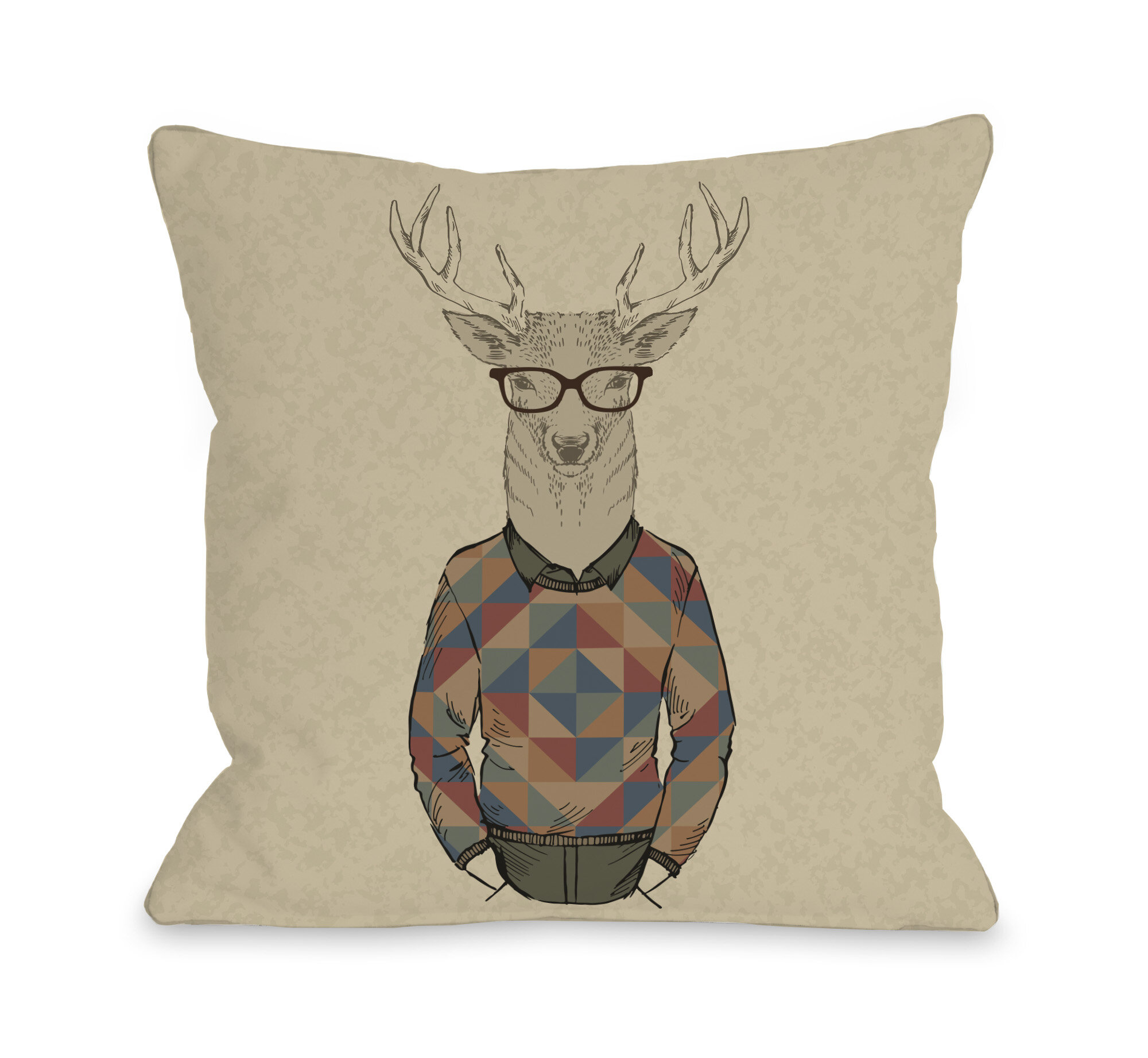 Marvelous Hipster Deer Sweater Throw Pillow Inzonedesignstudio Interior Chair Design Inzonedesignstudiocom