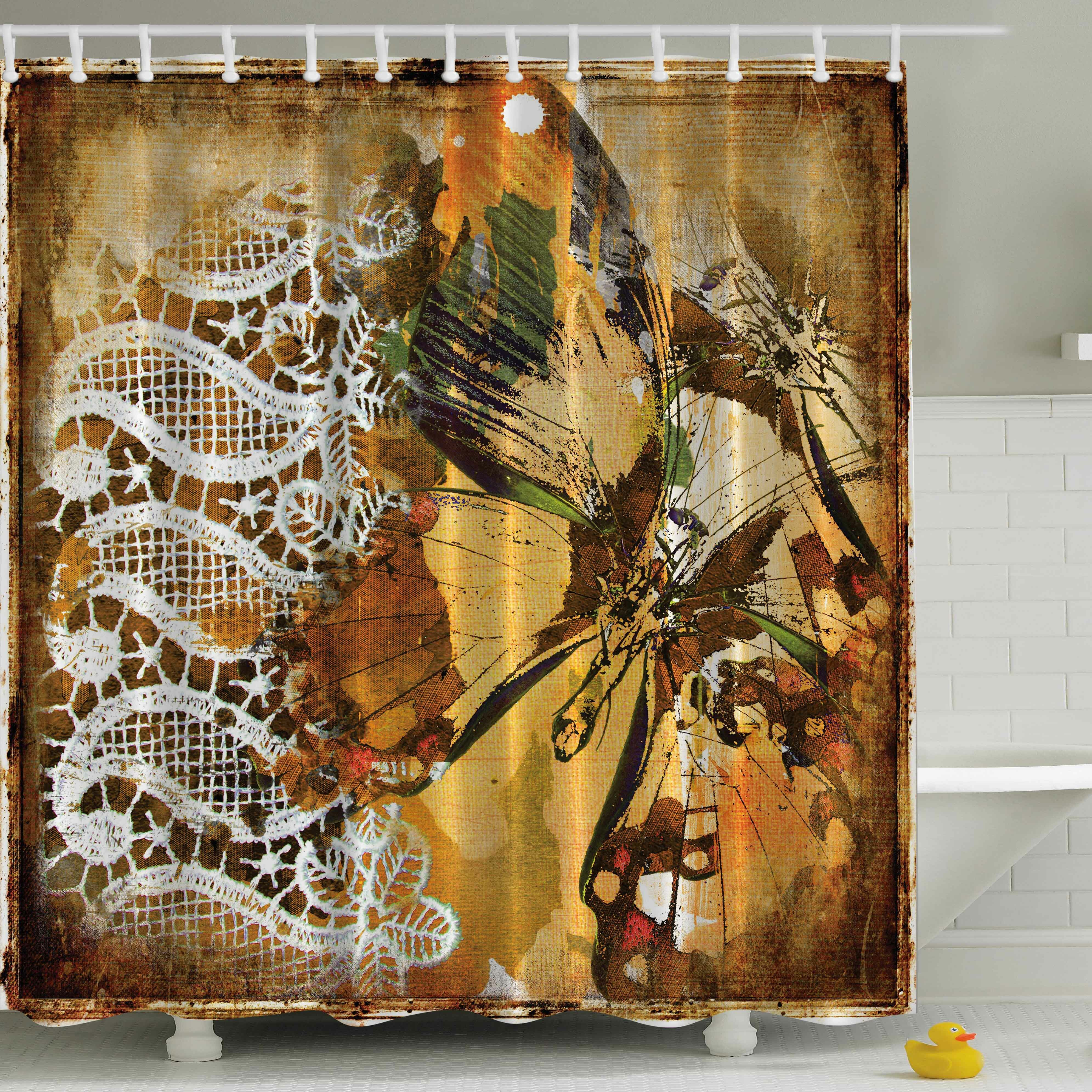 Ambesonne Vintage Lace With British Butterfly Print Shower Curtain Reviews