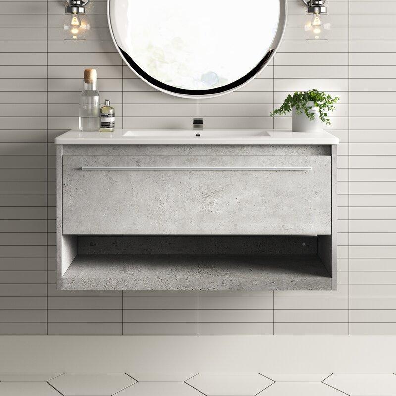 Jodie 40 Wall Mounted Single Bathroom Vanity Set Reviews Allmodern