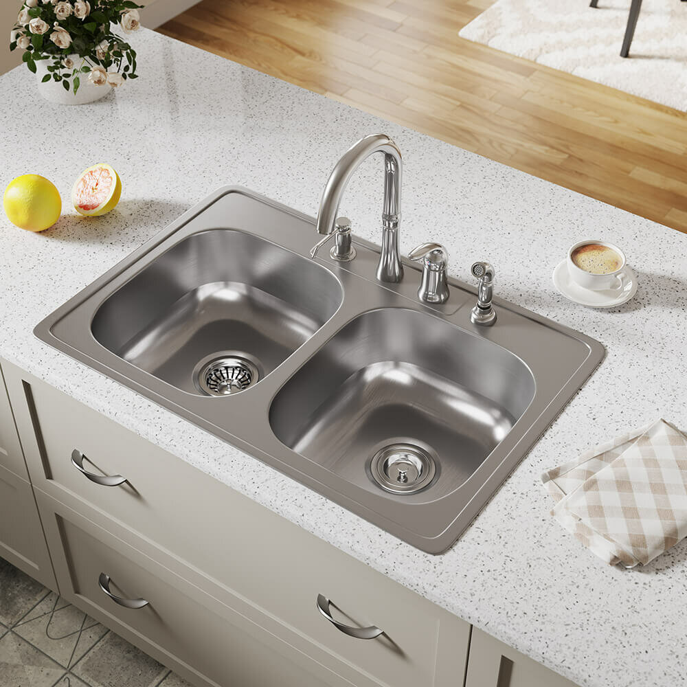Mrdirect Stainless Steel 33 X 22 Double Basin Drop In Kitchen