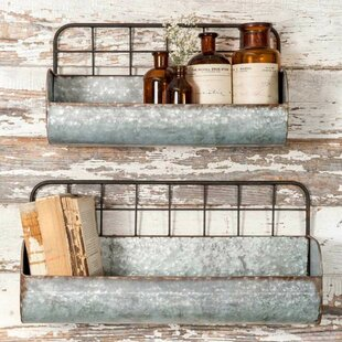 Mina Galvanized Metal 2-Piece Wall Shelves Set by Gracie Oaks