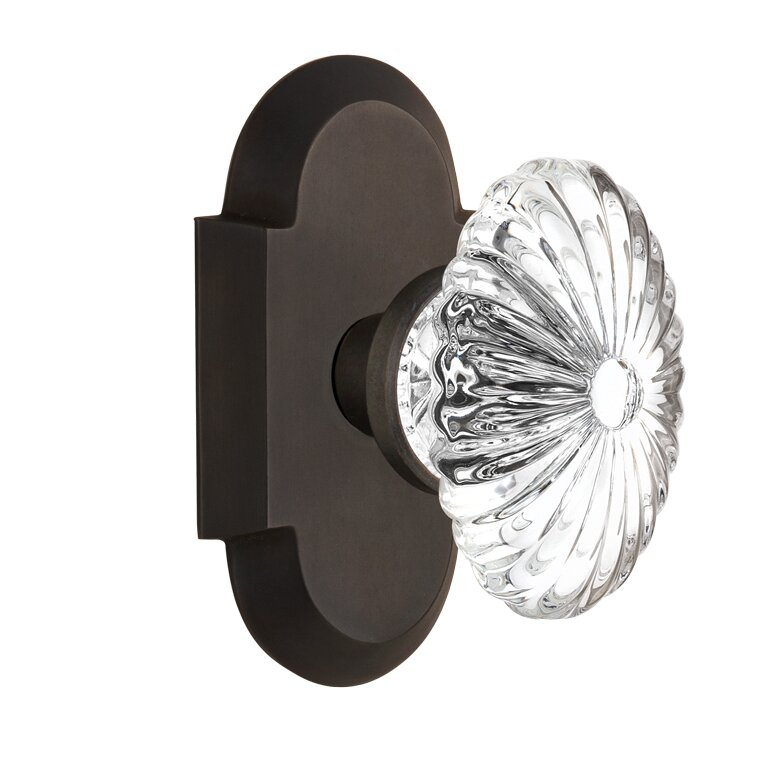 Oval Fluted Crystal Glass Single Dummy Door Knob With Cottage Plate