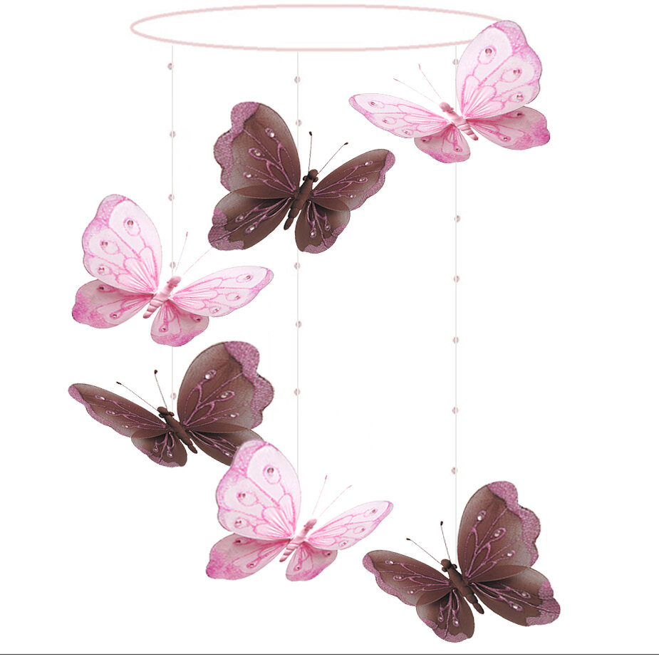 Beads Glitter New 5 Pink Wired Nylon Butterflies Mobile Butterfly with Sequins