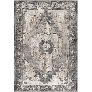 Almendarez Distressed Charcoal/Taupe Area Rug