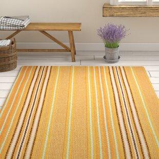 Sunflower Ticking Handwoven Cotton Yellow Rug by Dash & Albert Europe