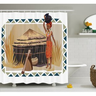 Avia Native Ethnic Lady Print Shower Curtain by Bloomsbury Market