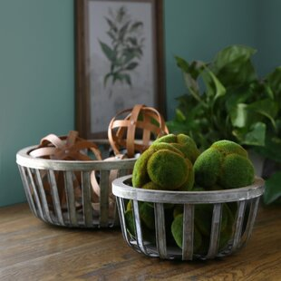 Reviews Round 2 Piece Metal Basket Set By Bay Isle Home